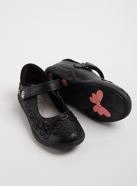 Black Leather Floral One Touch Strap School Shoes