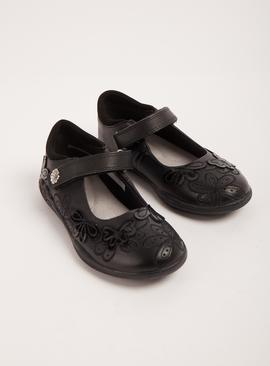 Black Floral Leather School Shoes - Half Sizes