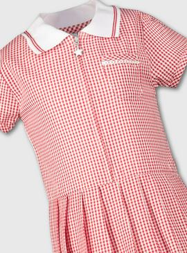 Red Gingham Sporty Collar Pleated School Dress