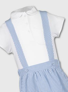 Red & White Gingham School Skirt With Braces & Top