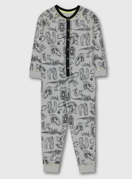 Grey Dinosaur Print All In One