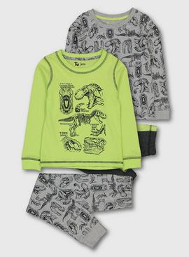Lime Green Dinosaur Snuggle Fit Pyjamas 2 Pack