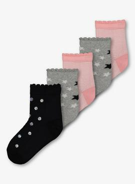 Multicoloured Spots, Stars & Stripes Socks 5 Pack - 12.5-3.5