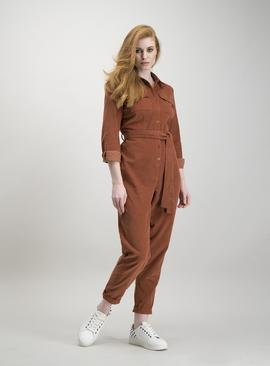 Burnt Orange Corduroy Long Sleeve Jumpsuit