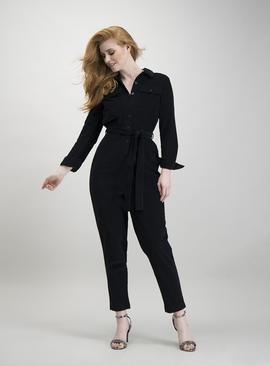 Black Corduroy Long Sleeve Jumpsuit