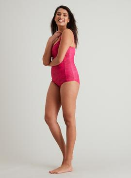 Pink Tropical Print Low Leg Swimsuit