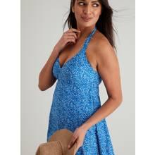 Blue Printed Halterneck Swim Dress