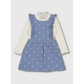 Blue Spot Pinafore & Roll Neck Top