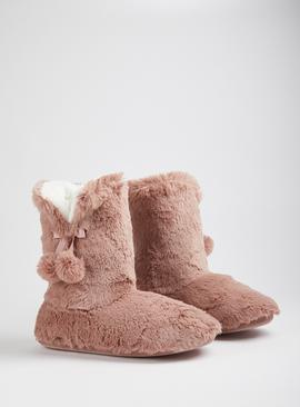 Pink Faux Fur Boot Slippers
