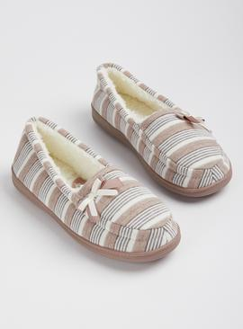 Taupe & Cream Striped Arch Support Full Slippers