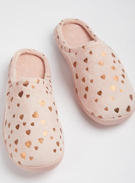 Pink Heart Print Cupsole Mule Slippers