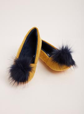 Yellow & Navy Pom Pom Ballerina Slippers