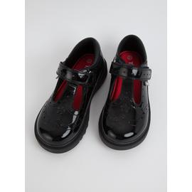 TOEZONE Black Patent Chunky Leather School Shoes