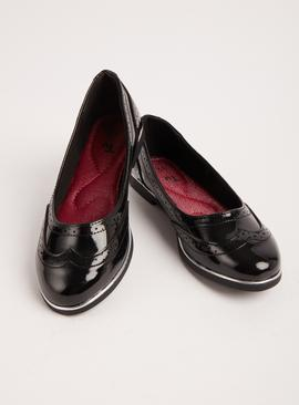 Black Patent School Ballerina Shoes
