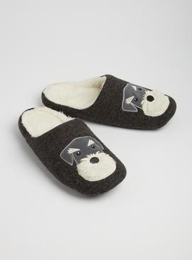 TOASTIES BY TOTES Grey Dog Mule Slippers