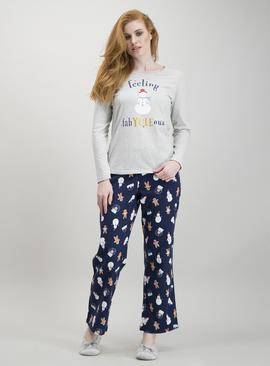 Christmas Navy & Grey Snowman Pyjamas
