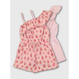 Pink Stripe & Strawberry Print Playsuit 2 Pack