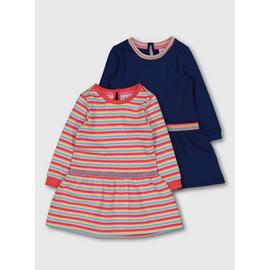 Multicoloured Long-Sleeve Dress 2 Pack