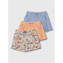 Floral, Peach & Blue Jersey Shorts 3 Pack