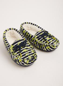 Navy Dinosaur Glow In The Dark Moccasin Slippers