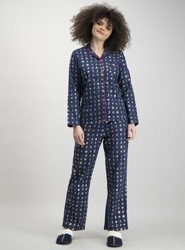 Christmas Navy & Gold 'Joy' Print Traditional Pyjamas