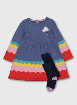 Blue Knitted Rainbow Dress & Tights
