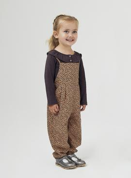 Leopard Print Dungarees & Long Sleeve Top