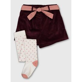 Burgundy Textured Shorts & Spotty Tights