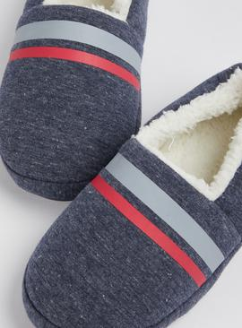 Navy Marl Stripe Detail Full Slippers