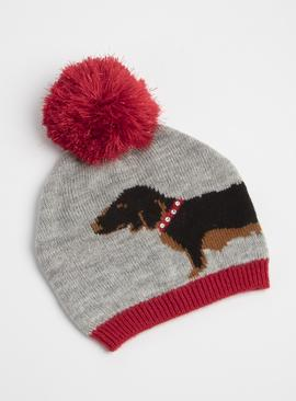 Christmas Grey & Red Sausage Dog Beanie Hat - One Size
