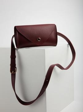 Burgundy Faux Leather Belt Bag - One Size