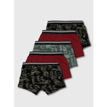 Black & Red Dinosaur Trunks 5 Pack