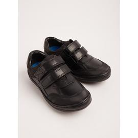 Black Leather Wide Fit School Shoes