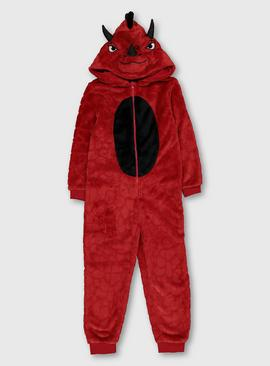 Red Dinosaur Fleece All In One