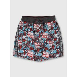 Mini Me Marvel Blue Superhero Printed Swim Shorts