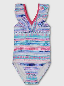 Multicoloured Watercolour Stripe Textured Swimsuit