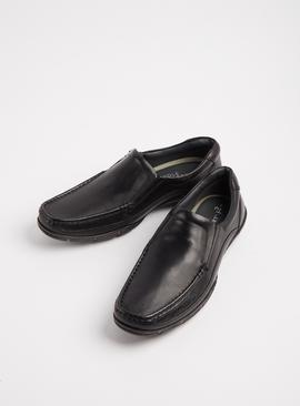 Sole Comfort Black Leather Slip-On Wallabee Shoes