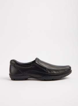 Sole Comfort Black Leather Slip On Wide Fit Wallabee Shoes