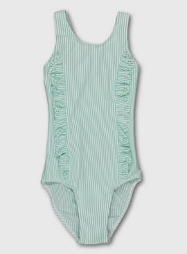 Mint Green Textured Frill Swimming Costume