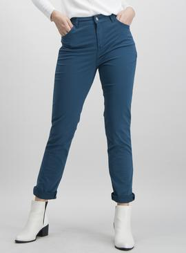 Teal Twill Jeans With Stretch