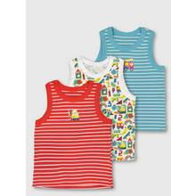 Multicoloured Vehicle Print & Stripe Vest 3 Pack