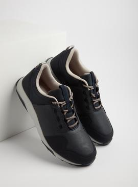 Navy Faux Leather Lace Up Trainers