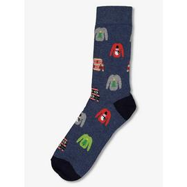 Christmas Blue Ankle Socks With Festive Jumper Print - 6-11