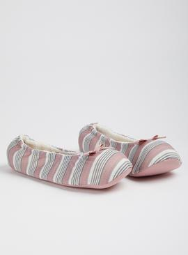 Grey & Pink Stripe Ballerina Slippers