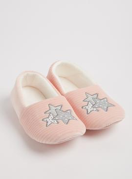 Pink Striped Star Full Slippers