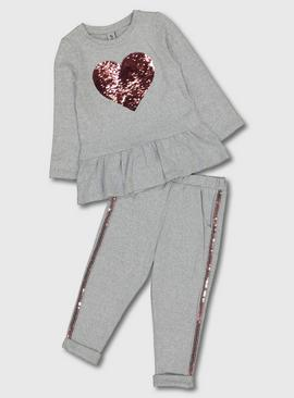 Grey Soft Knit Sequin Heart Top & Joggers