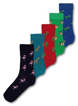 Christmas Bright Assorted Emblem Ankle Sock 5 Pack - 6-8.5