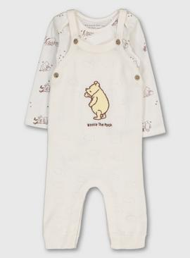 Disney Winnie The Pooh Cream Knitted Dungaree & Bodysuit Set