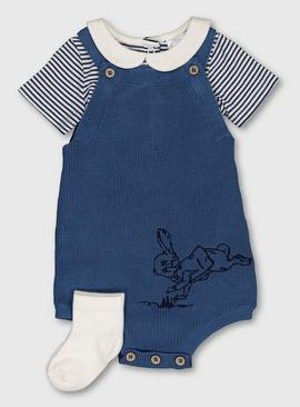 Peter Rabbit Blue Romper, Stripe Bodysuit & Socks