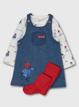 Paddington Denim Pinafore, Bodysuit & Tights Set